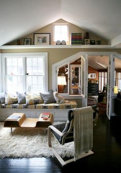 Cozy bungalow living room with one-of-a-kind trim shapes