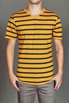 FUSAI Short Sleeve Heathered Stripe V-Neck Tee