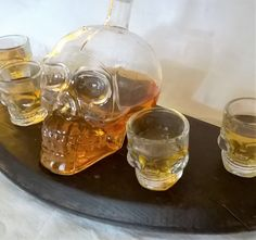 "Whisky ""Barrel End""  Display Stand with Crystal Skull Decanter Set Free UK…"