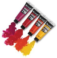Blick Studio Acrylics  A combination of price and performance makes Blick Studio Acrylic Colors a great value for students and beginning artists.  Available in a palette of 48 bright, intense colors that mix well, Blick Studio Acrylic Colors are ideal for teaching color theory. A buttery, oil paint-like texture holds impasto brush and palette marks when dry, and a high pigment concentration assures strong color power and covering power.