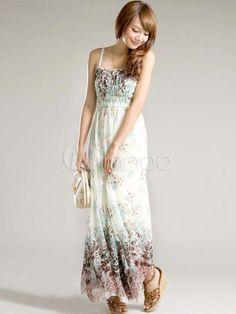 Élégante robe longue bohémienne en mousseline blanc à bretelles sans manches - Milanoo.com