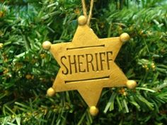 New Antique Brass Colored Resin Sheriff Badge Western Christmas Tree Ornament on eBay!  David in Oklahoma