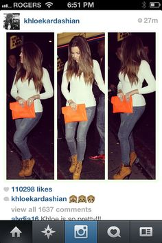 Cute and casual. Pop of colour. Khloe Kardashian style. I love love LOVE this look