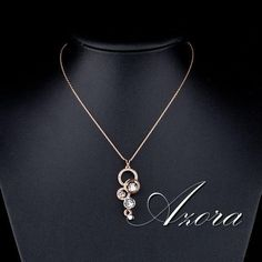 New Cubic Zirconia Six Circles Rose Gold Color Delicate Necklace