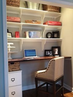 removed doors, gutted the wire shelving, then added butcher block desk from IKEA and a carpenter added shelves. Add filing cabinet and chair from Ballards and voila! Office Cabinet Design, Home Office Cabinets, Kitchen Pantry Cabinets, Home Office Design, Filing Cabinets, Closet Desk, Closet Office, Office Nook, Hall Closet