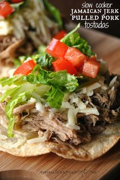 Jamaican Jerk Pulled Pork Tostadas: easy slow cooker dinner idea that's delicious and healthy! #slowcooker #dinner www.shugarysweets.com