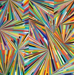 "Mark Ottens, UNTITLED (Stripes in Sunbursts), Acrylic on Panel, 12 x 12 x 2"""