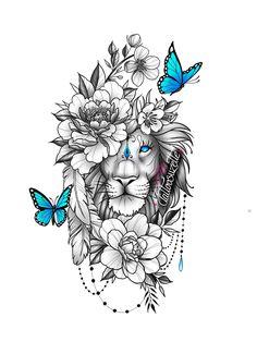 Dope Tattoos, Leo Lion Tattoos, Animal Tattoos, Body Art Tattoos, Small Tattoos, Animal Mandala Tattoo, Faith Tattoo Designs, Lioness Tattoo Design, Lion Flower
