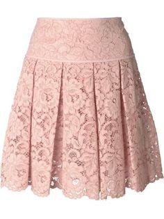 DKNY falda corta de encaje con pliegues