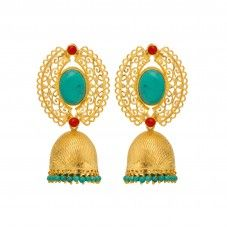 Ethnic Antique Finish Earrings With Stones And Beads