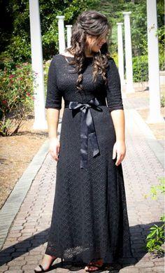Bernadette women's modest lace maxi dress with satin belt.