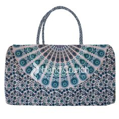 Sky blue flower print travel bag Online Bags, Flower Prints, Blue Flowers, Handicraft, Travel Bags, Mandala, Sky, Shoulder Bag, Handbags