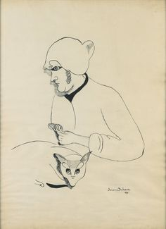 Suzanne Duchamp – FEMME AU CHAT, 1922, Ink on paper