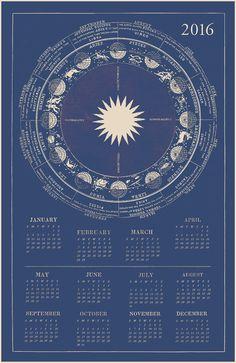 2016 Zodiac Calendar Blue Astrology Calendar by CapricornPress