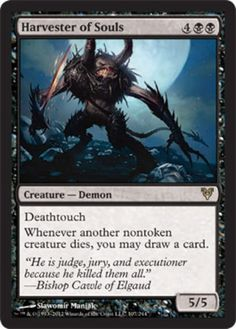 Avacyn Restored Harvester of Souls black rare deathtouch horror creature card mtg Magic the Gathering