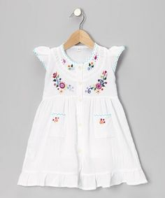 Another great find on #zulily! White Embroidered Santy Dress - Infant, Toddler & Girls by Little Cotton Dress #zulilyfinds