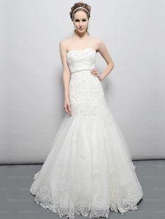 Trumpet/Mermaid Strapless Lace Satin Chapel Train White Sashes / Ribbons Wedding Dresses at Millybridal.com