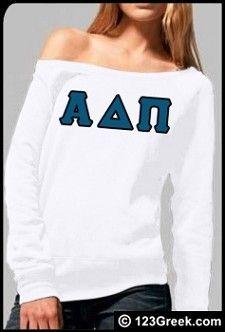 $44.95 Alpha Delta Pi Tri-Blend Wideneck Sweatshirt with Sewn-On Letters