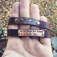 "Unique hand drawn metal etched mountains genuine leather cuff hand stamped with ""the mountains are calling and i must go"" quote by SoBeautifullyBroken on Etsy https://www.etsy.com/listing/207986235/unique-hand-drawn-metal-etched-mountains                                                                                                                                                                                 More"