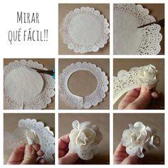 Fleur rose en napperon de papier. DIY - origine inconnue.