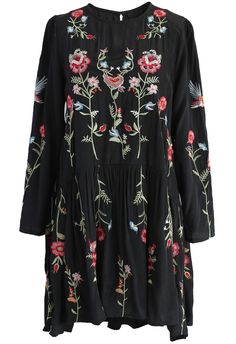 Floral Paradise Embroidered Dress in Black - New Arrivals - Retro, Indie and…