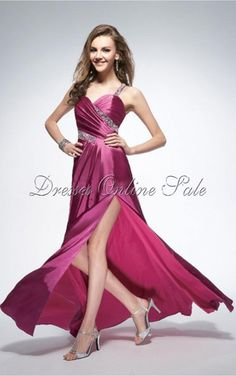 Fuchsia A-line Floor-length Spaghetti Straps Dress