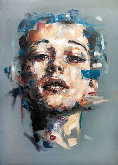 """Questo alto della verità"" - Davide Cambria, oil on canvas {contemporary figurative #expressionist artist female head grunge woman face portrait painting}"