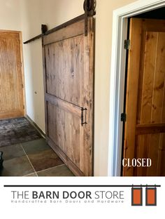 "Our Rio Verde customer needed an office door, which was very close to the foyer/entryway. What a perfect place to put a #barndoor!  **Barn Door Details**  #ClosedBarnDoor  Early American finish 6"" vintage wheels Rust hardware Cathedral Handle  #CustomBarnDoors #TheBarnDoorStore #MadeInUSA #Wood #Barns #HomeDecor #InteriorDesign #HomeRemodeling #DoorIdeas #Doors #MasterBedrooms #BathroomDoors"