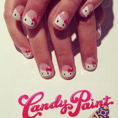 CandypaintLA Nails- Hello kitty tips.
