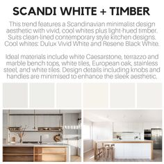 Scandi White kitchen colour trend features the clean lined Scandinavian design aesthetic of white with timber, often European oak. Kitchen colour trend illustration for Norna.ai Sweden by Zena O'Connor, October Kitchen Color Trends, Terrazzo, Scandinavian Design, Minimalist Design, Sweden, Kitchen Remodel, Kitchen Design, Archive, October