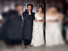 Anil Kapoor with his daughter and actress Sonam Kapoor during Diwali celebrations
