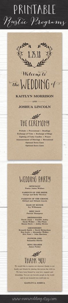 Printable Rustic Wedding Program #weddingprogram #rusticwedding #printable #diywedding #