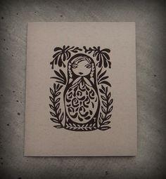 "Carte double ""Matriochka"" - Impression originale en linogravure"