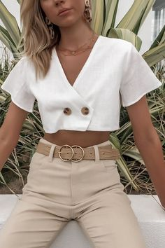 Women V Neck Button Short Sleeve Casual Crop Top - Crop Top Outfits, Casual Outfits, Summer Outfits, Cute Outfits, Fashion Outfits, Fashion Clothes, Fashionable Outfits, Fashion Sale, Summer Shorts