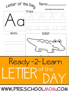 Letter of the day tracing and writing with picture to color, upper and lower case