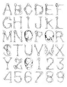 Skulls Bones by Oriol Massaguer, via Behance Graffiti Lettering Fonts, Tattoo Lettering Fonts, Typography Love, Creative Lettering, Lettering Styles, Lettering Design, Tattoo Fonts Alphabet, Hand Lettering Alphabet, Alphabet Letters Design