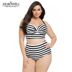 b3767889bee0 Plus Size Striped Vintage High Waist Push Up Bathing. Retro  VintageBaddräkter Stora StorlekarHög MidjaBikini ...
