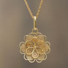 Gold Plated Silver Peruvian Filigree Flower Necklace - Yellow Rose | NOVICA