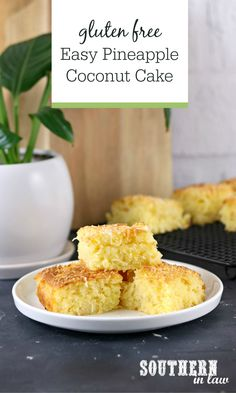 Easy Gluten Free Pineapple Coconut Cake Recipe | Using pantry staples and just 7 ingredients (8 if you use fresh pineapple instead of canned pineapple), this gluten free cake recipe may be one of the easiest dessert recipes. A super light and fluffy cake that will become a family favorite.