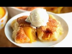 FULL RECIPE: http://www.spendwithpennies.com/4-ingredient-peach-dumplings/ These easy peach dumplings are one of our favorites and can be made with peaches, ...