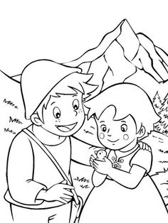 Heidi e Peter com pássaro - Malvorlagen Kinder - Heidi Cartoon, Flamingo Coloring Page, Little Busters, Aquarell Tattoos, Princess Coloring, Abstract Nature, Free Printable Coloring Pages, Photo Colour, Coloring For Kids