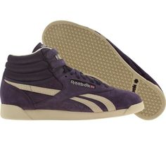 Reebok Womens Freestyle High Vintage Intelligence shoes in purple ink, bone, and reebok brass