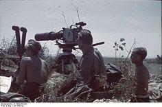 Famous German war photographer Horst Grund with Askania Z camera, Sevastopol, Russia, USSR, circa Jan 1942.