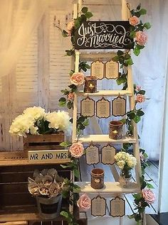 Vintage Shabby Chic Ladder Wedding Table Plan To Hire - chrySSa wedding The Plan, How To Plan, Wedding Table Planner, Wedding Table Seating, Wedding Tables, Shabby Chic Ladder, Vintage Shabby Chic, Creative Wedding Gifts, Wedding Gifts For Guests