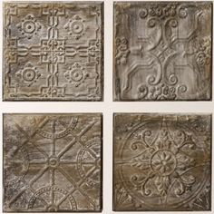 Embossed Tin Tile, Set of 4