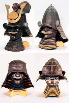 1.A KAWARI-KABUTO [ECCENTRICALLY SHAPED HELMET] and Mempo  Edo Period (19th Century)   2.A SHINOMI-NARI KABUTO [HIGH CONICAL HELMET] and a Mempo  Edo Period (Late 17th Century)   3.AN OKITENUGUI KABUTO [HELMET IN THE FORM OF A HEADCLOTH] and mempo. Edo Period (17th Century)   4.A KAWARI-KABUTO [ECCENTRICALLY SHAPED HELMET] and mempo Edo Period (18th Century)