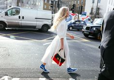 Kate Foley in a Rejina Pyo dress and Vans sneakers with a J.W.Anderson bag