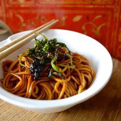 Soy scallion noodles.