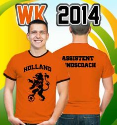 WK 2014! laat zien voor welk team je bent. Leuke oranje T-shirts met voetbal teksten en afbeeldingen. Of maak je eigen.