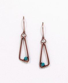 Special Early Bird Price Copper Dangle Earrings Turquoise Color Accent